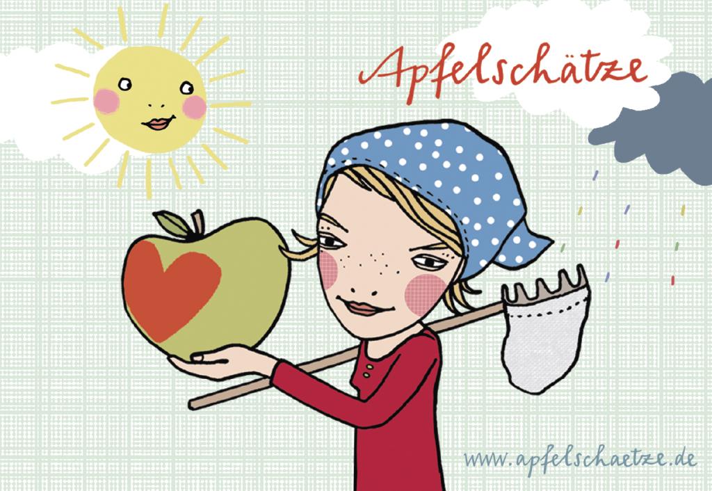 Postkarte Apfelmaedchen